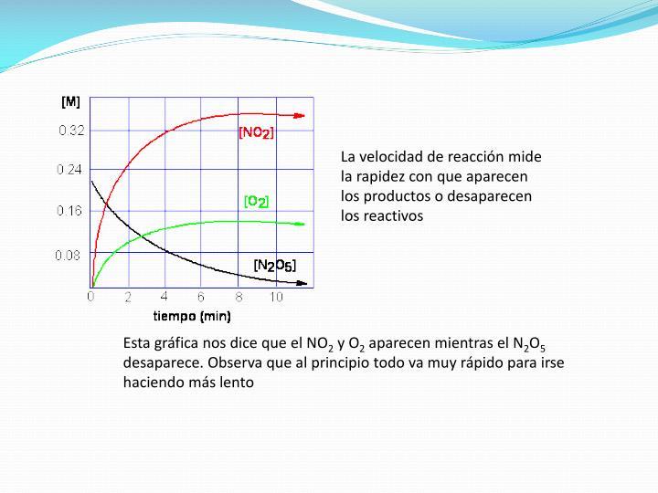 La velocidad de reacción mide la rapidez con que aparecen los productos o desaparecen los reactivos