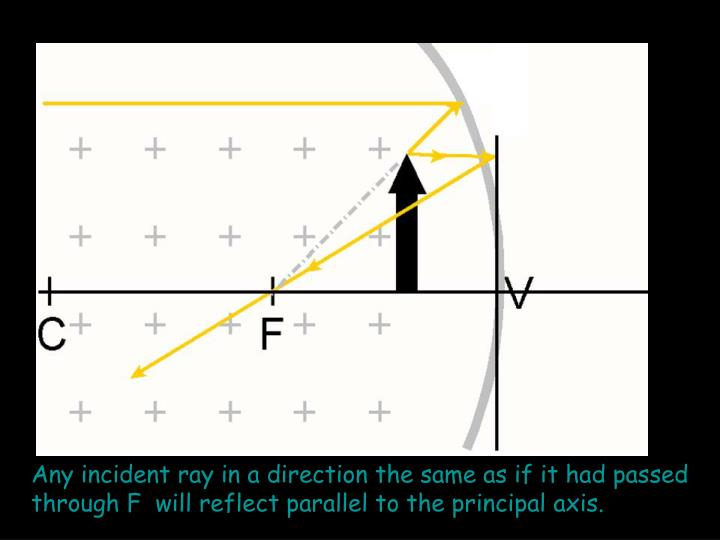 Any incident ray in a direction the same as if it had passed through F  will reflect parallel to the principal axis.