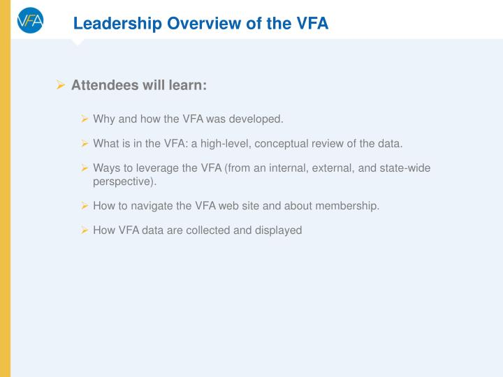Leadership Overview of the VFA