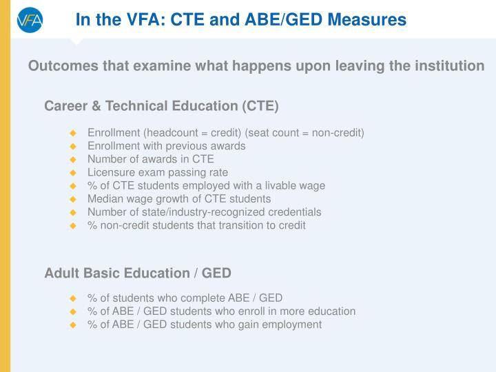 In the VFA: CTE and ABE/GED Measures