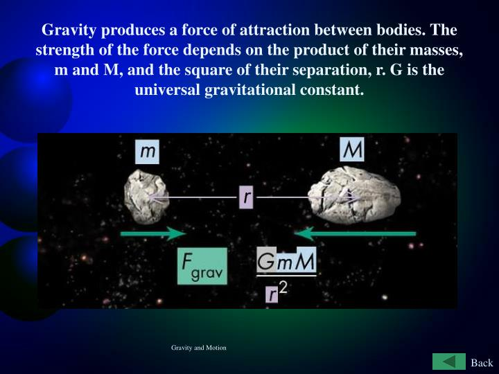 Gravity produces a force of attraction between bodies. The strength of the force depends on the product of their masses, m and M, and the square of their separation, r. G is the universal gravitational constant.