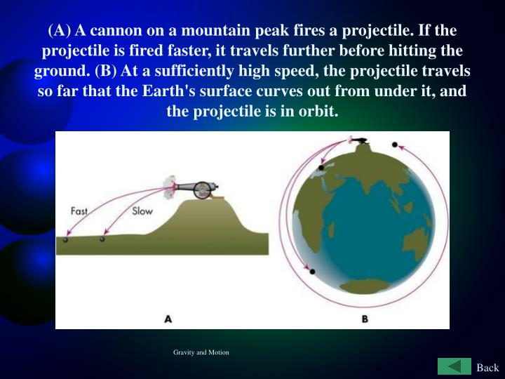 (A) A cannon on a mountain peak fires a projectile. If the projectile is fired faster, it travels further before hitting the ground. (B) At a sufficiently high speed, the projectile travels so far that the Earth's surface curves out from under it, and the projectile is in orbit.