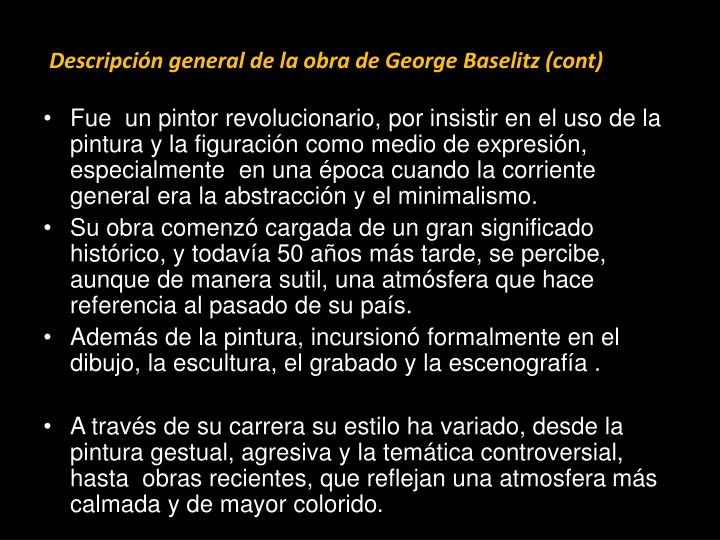 Descripción general de la obra de George