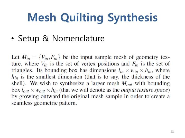 Mesh Quilting Synthesis