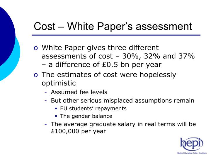 Cost – White Paper's assessment