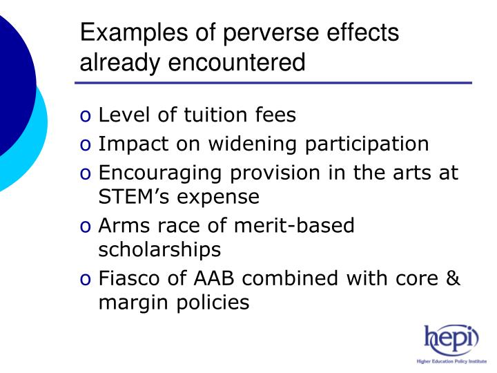 Examples of perverse effects already encountered
