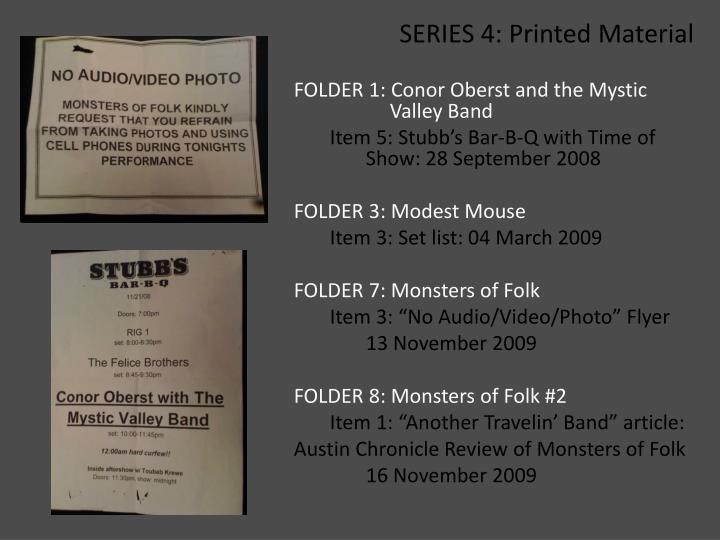 SERIES 4: Printed Material