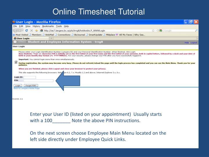 Online Timesheet Tutorial