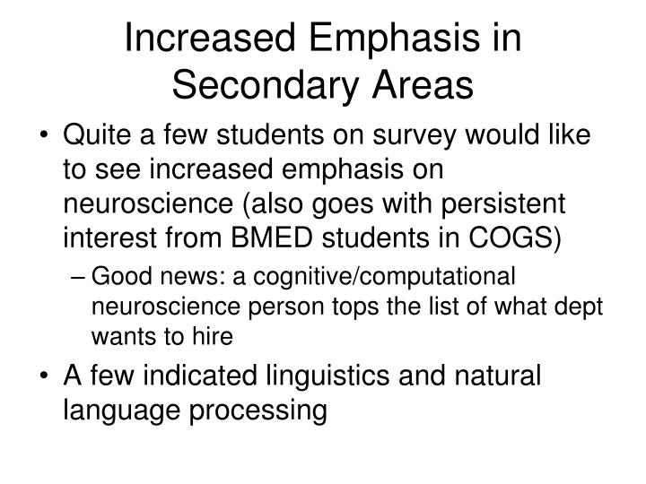 Increased Emphasis in Secondary Areas