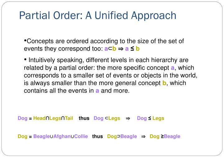 Partial Order: A Unified Approach