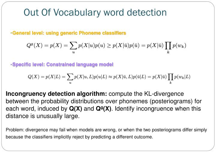 Out Of Vocabulary word detection
