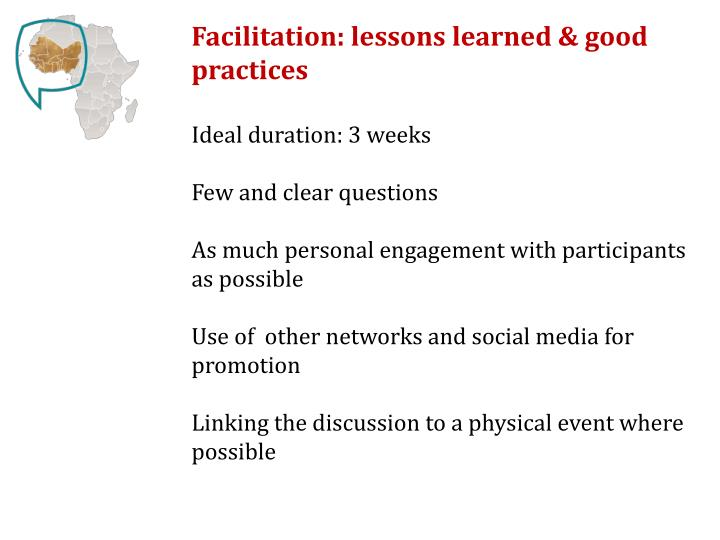 Facilitation: lessons