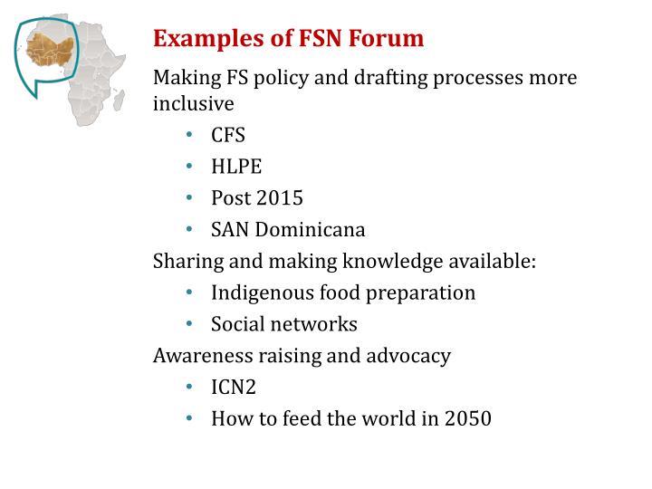 Examples of FSN Forum