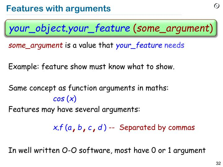 Features with arguments
