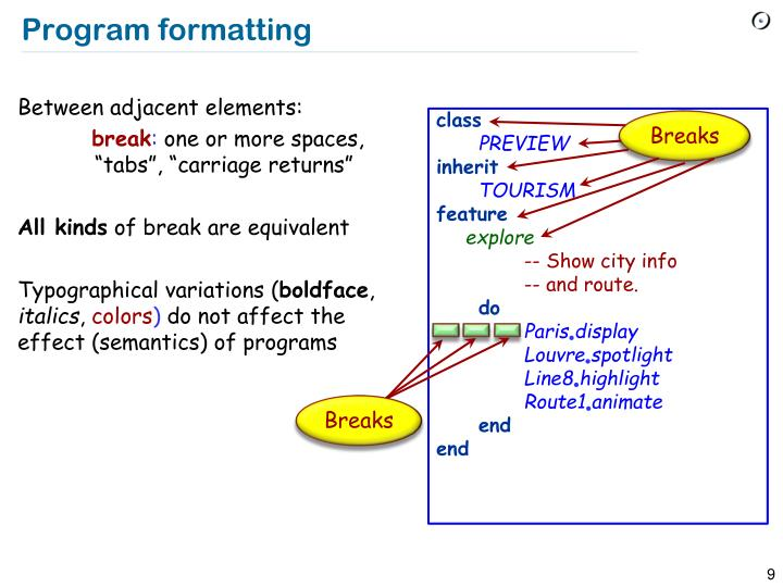 Program formatting