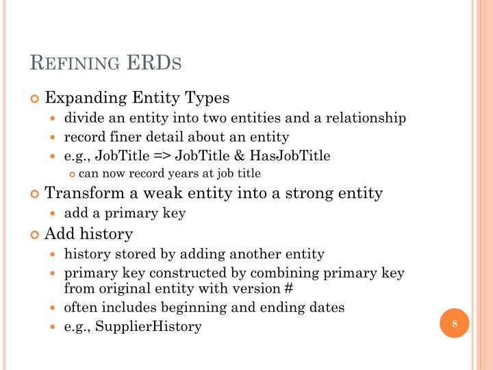 Refining ERDs