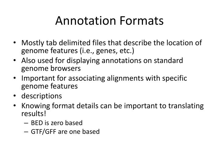 Annotation Formats