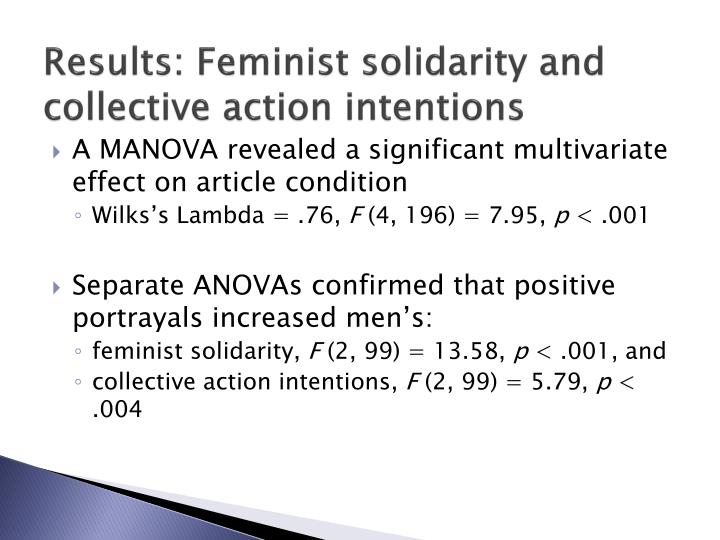 Results: Feminist solidarity and collective action intentions