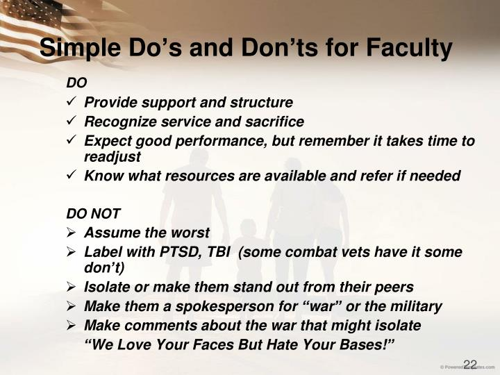 Simple Do's and Don'ts for Faculty