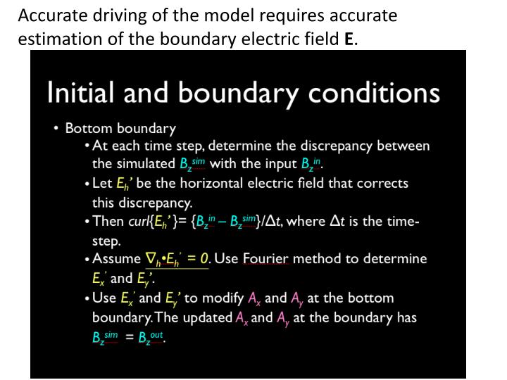 Accurate driving of the model requires accurate estimation of the boundary electric field