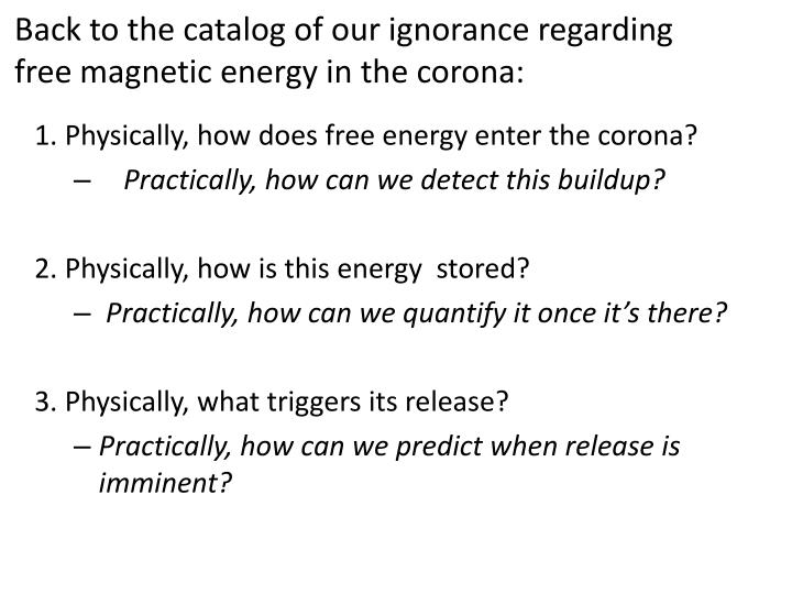 Back to the catalog of our ignorance regarding free magnetic energy in the corona: