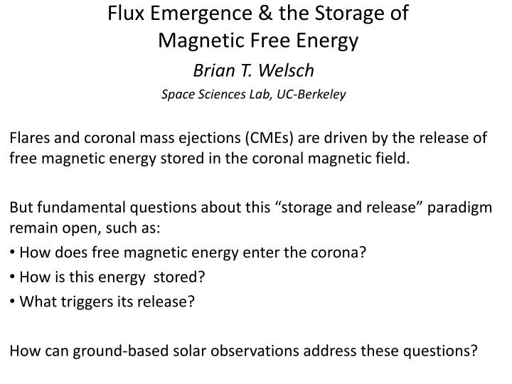 Flux emergence the storage of magnetic free energy