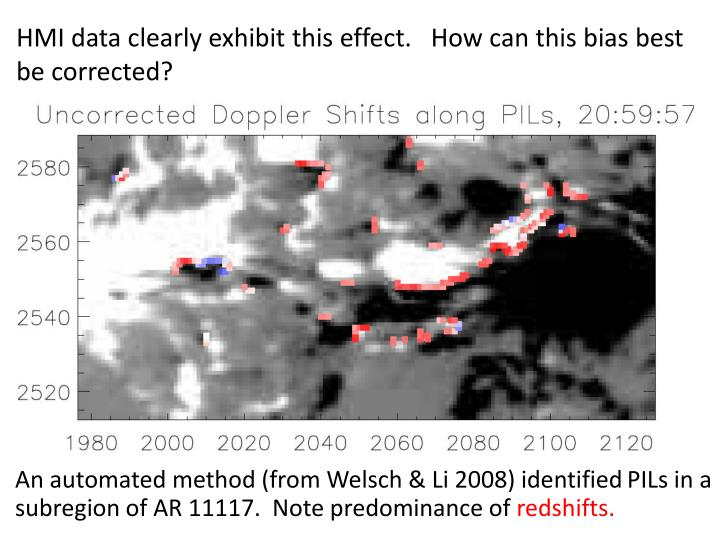 HMI data clearly exhibit this effect.   How can this bias best be corrected?
