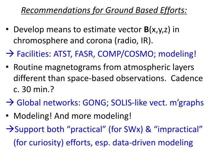 Recommendations for Ground Based Efforts: