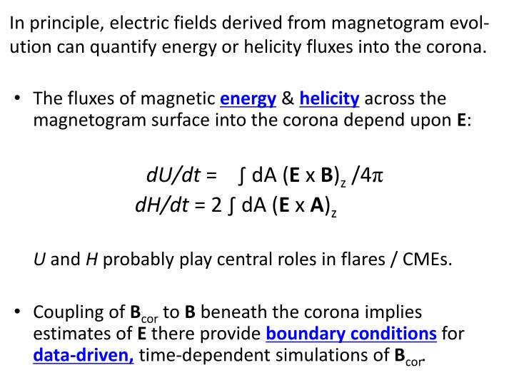 In principle, electric fields derived from magnetogram