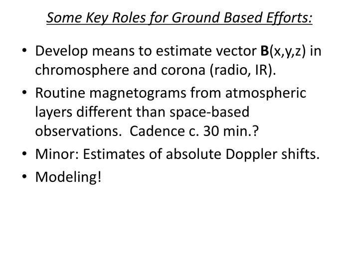 Some Key Roles for Ground Based Efforts: