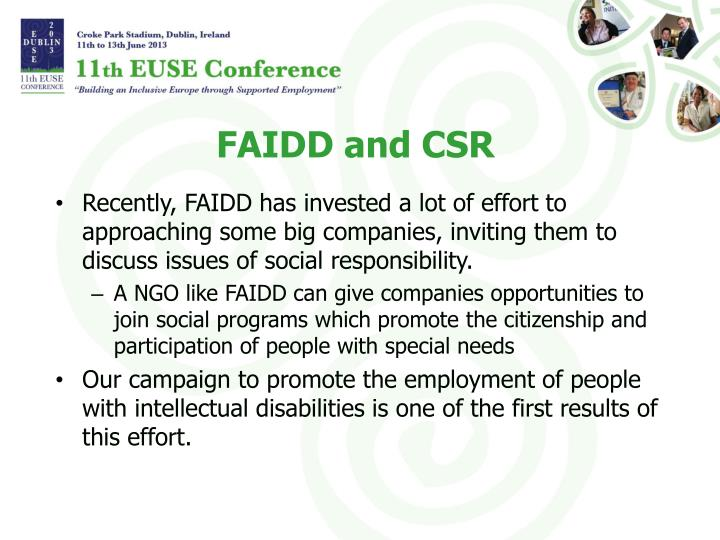 FAIDD and CSR