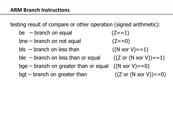 ARM Branch Instructions