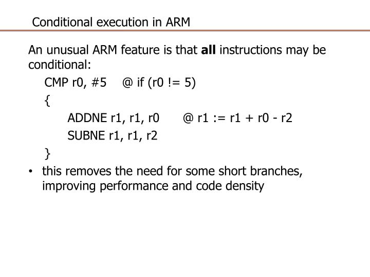 Conditional execution in ARM