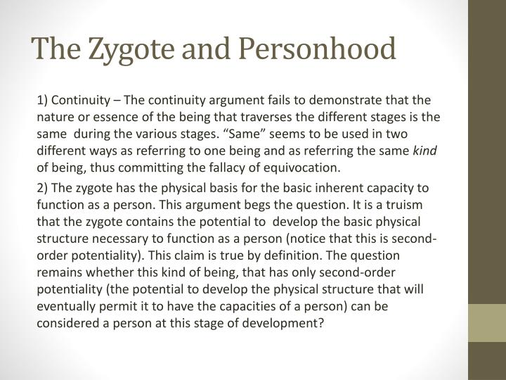 The Zygote and Personhood
