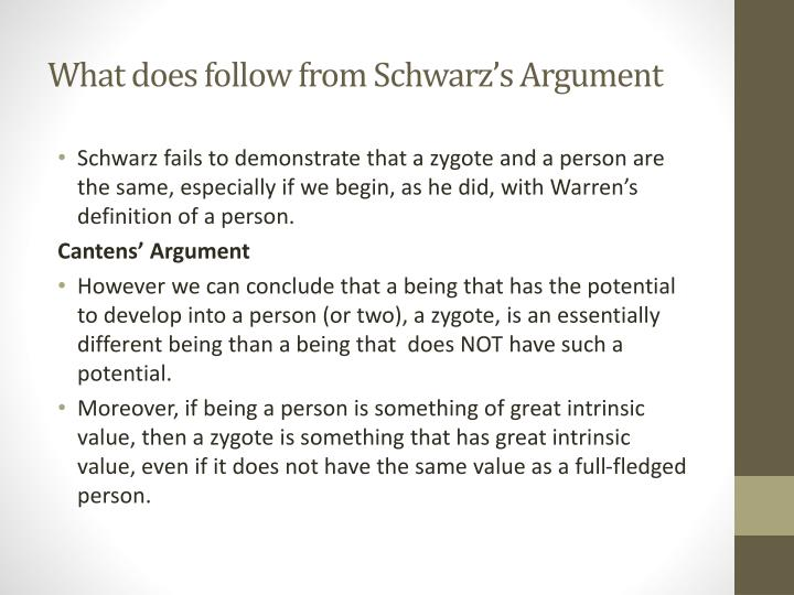 What does follow from Schwarz's Argument