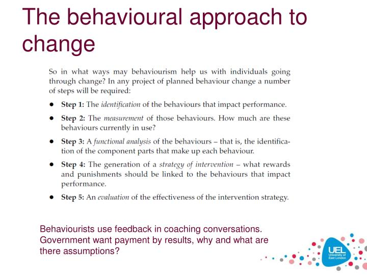 The behavioural approach to change