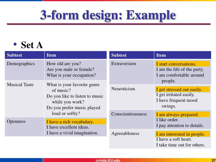 3-form design: Example