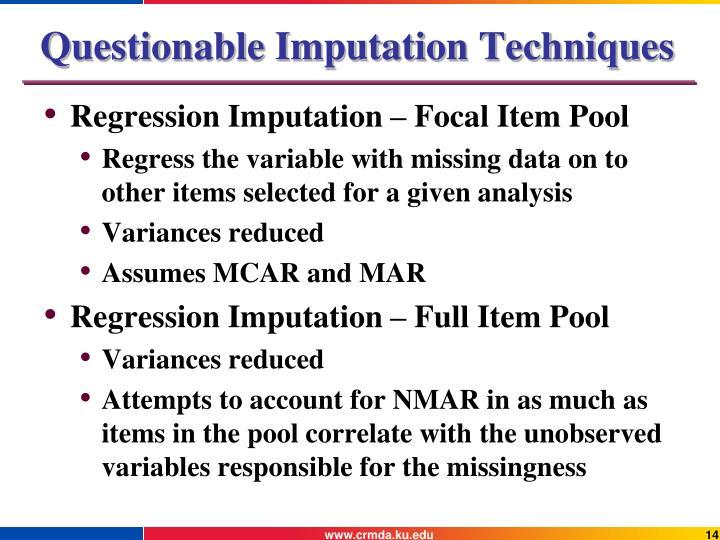 Questionable Imputation Techniques
