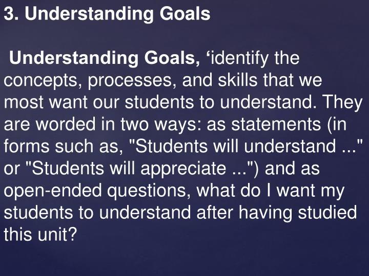 3. Understanding Goals