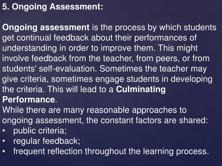 5. Ongoing Assessment