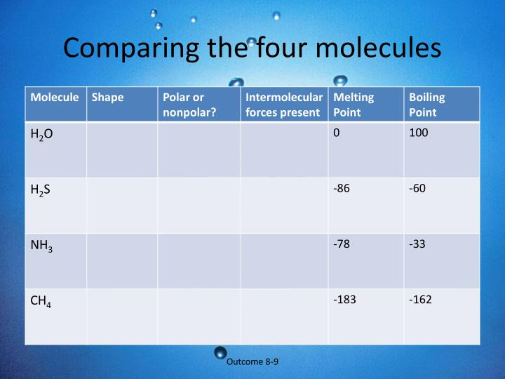 Comparing the four molecules