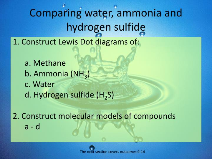 Comparing water, ammonia and hydrogen