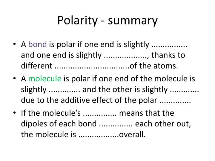 Polarity - summary