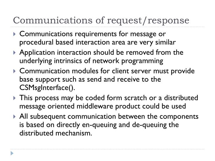 Communications of request/response