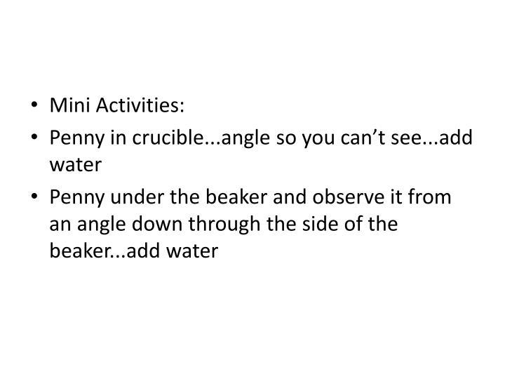 Mini Activities: