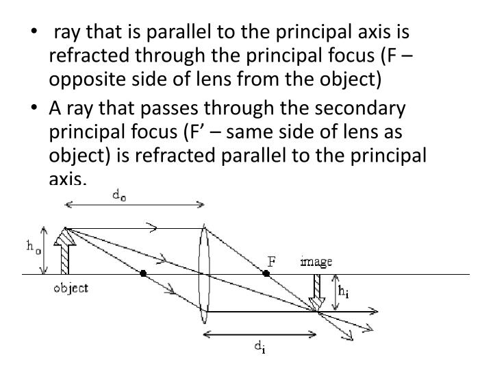 ray that is parallel to the principal axis is refracted through the principal focus (F – opposite side of lens from the object)