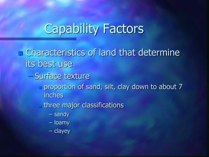 Capability Factors