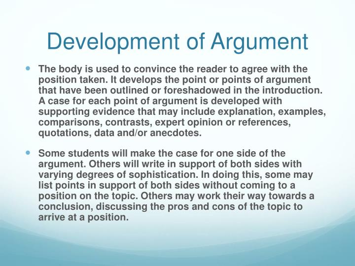 Development of Argument