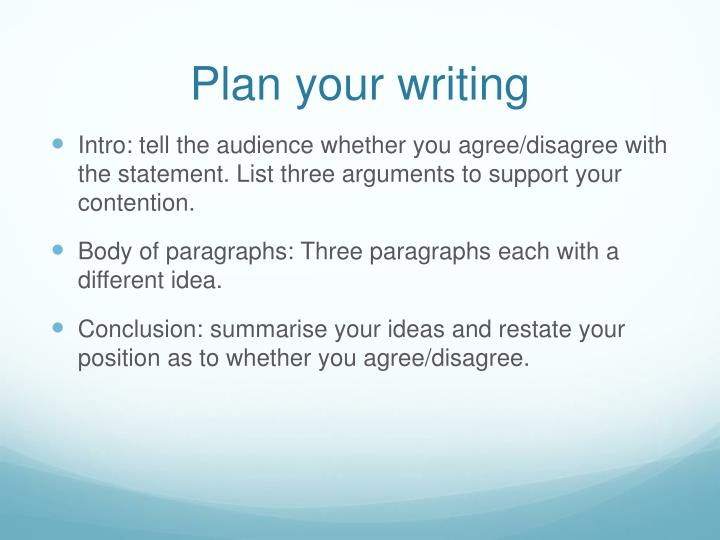 Plan your writing