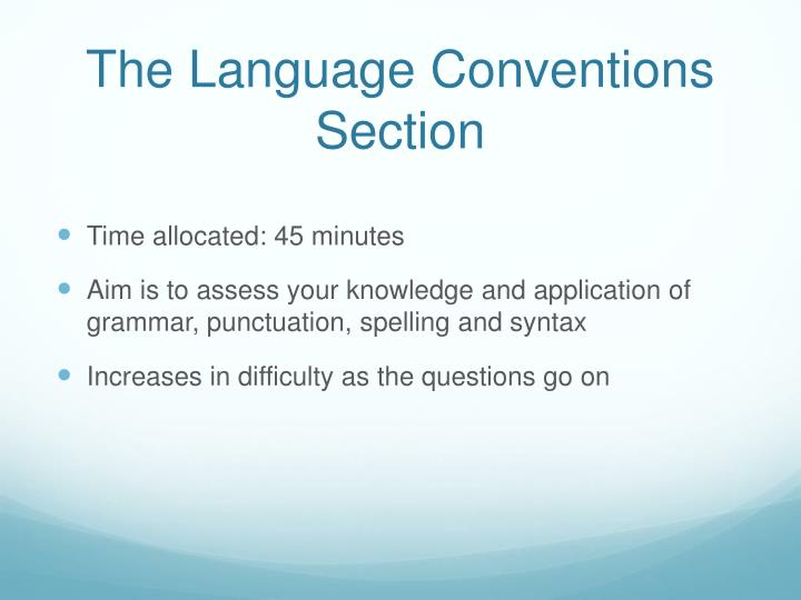 The Language Conventions Section